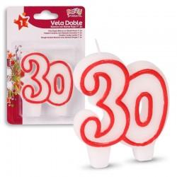 Vela numero 30 blanca borde rojo doble