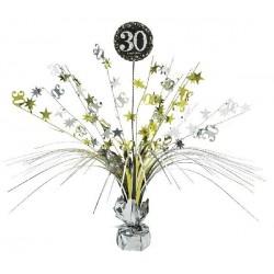 Centro de mesa 30 cumpleaños decoracion oro negro