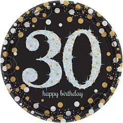 Platos 30 cumpleaños oro y negro 23 cm 8 unidades