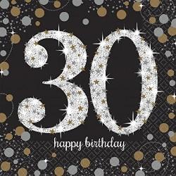 Servilletas 30 cumpleaños oro y negro 16 uni 33x33