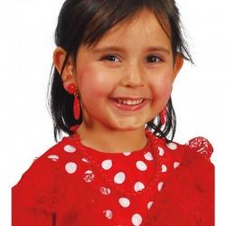 Pendientes andaluza rojo infantil