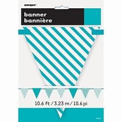 Guirnalda banderin turquesa y blanca 330 cm