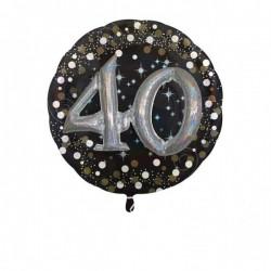 Globo 40 cumpleaños negro y plata 81 cm efecto 3d