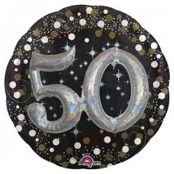 Globo 50 cumpleaños negro brillantes 81 cm efecto 3d