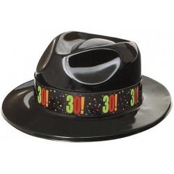Sombrero plastico 30 cumpleaños negro vaquero