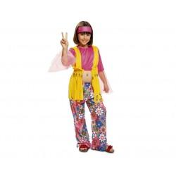 Disfraz hippie para niña talla 5-6 años