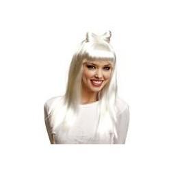 Peluca blanca con lazo similar lady gaga
