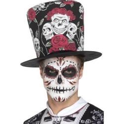 Sombrero de copa dia de los muertos calveras rosas