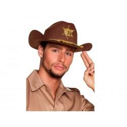 Sombrero sheriff marron con insignia y cordon rick