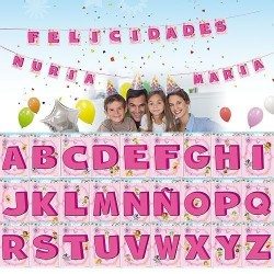 Letras rosas para guirnalda 145 x 22 cm unidad