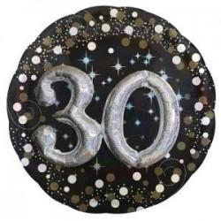 Globo 30 cumpleaños negro y plata 81 cm efecto 3d