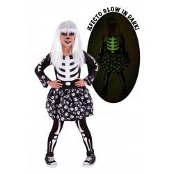 Disfraz esquelita esqueleta que brilla en la oscuridad talla 8-10 años