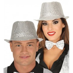 Sombrero ganster plata con lentejuelas