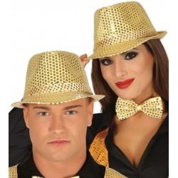 Sombrero ganster oro con lentejuelas
