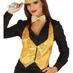 Chaleco lentejuelas oro para mujer