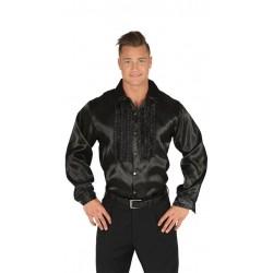 Camisa disco negra chorreras para hombre talla l