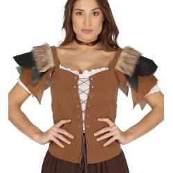 Chaleco  aladeana o vikinga para mujer simil cuero
