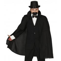 Capa negra con cuello de caballero 100 cm