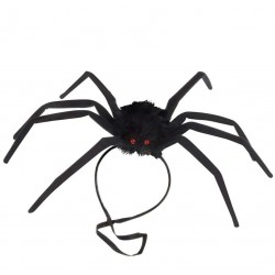 Araña moldeable negra de 50 cm con goma para la cabeza