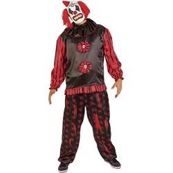 Disfraz payaso siniestro negro y rojo para hombre