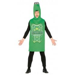 Disfraz de botella de cerveza verde para hombre adulto talla l