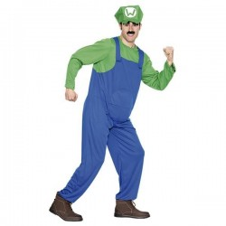 Disfraz fontanero verde luiggi adulto talla m-l