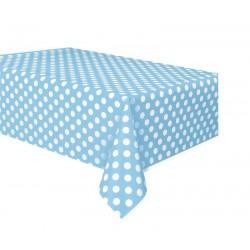 Mantel plastico azul claro con lunares blancos 137x274 cm