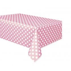 Mantel rosa claro con lunares blancos 137x274 cm