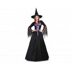 Disfraz bruja para mujer talla l negro y morado