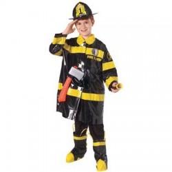 Disfraz bombero negro para niño talla 8 a 10 años