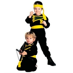 Disfraz ninja negro para niño de 3-4 años