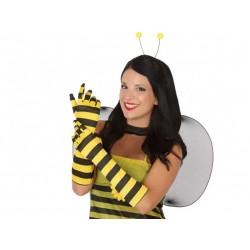 Guantes abeja largos rayas negras y amarillas