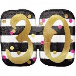 Globo 30 cumpleaños oro y rosa 63cm x 50cm