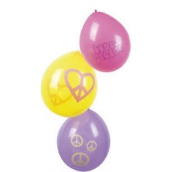 GLOBOS HIPPIES PAZ Y AMOR 6 UNDS LATEX