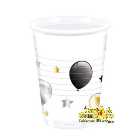 Vasos blancos globos oro y plata para cumplea os 8 uds 200 ml - Vasos para cumpleanos infantiles ...
