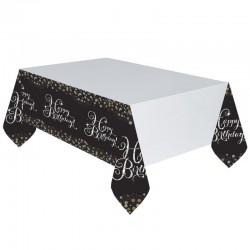 Mantel de plastico para cumpleaños blanco oro y negro 1.37m x 2.6m