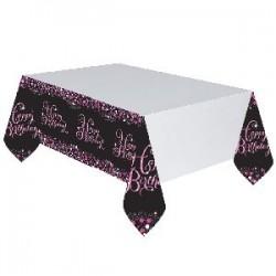 Mantel cumpleaños rosa negro y blanco plastico 1.37m x 2.59m