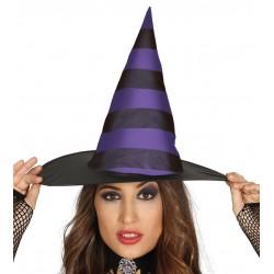 Sombrero de bruja negro y lila rayas para mujer