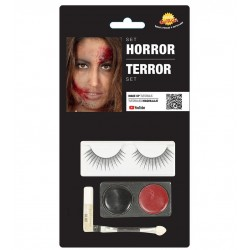 Kit maquillaje terror con pestanas para halloween