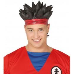 Peluca manga negra de latex similar a Goku