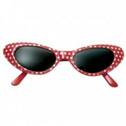 Gafas anos 50 rojas lunares blancos grease