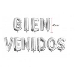 Letras Bienvenidos plata en globo de 45 cm