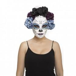 Máscara día De los muertos blanca y azul