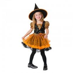Disfraz Bruja naranja con tutu para niña
