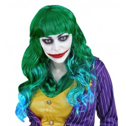Peluca verde con flequillo para mujer Joker