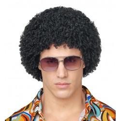Peluca afro negra rizo pequeno disco anos 70