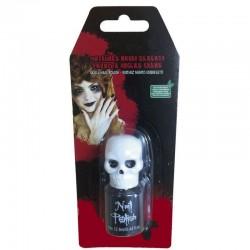Pintaunas negro esqueleto para halloween