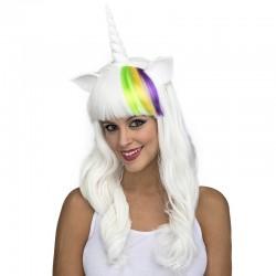 Peluca unicornio blanca con mechon para mujer