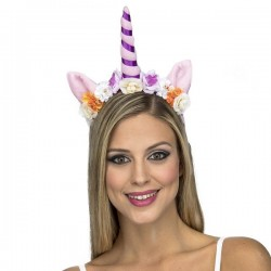 Diadema unicornio morado para mujer