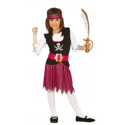 Disfraz pirata rosa para niña con falda